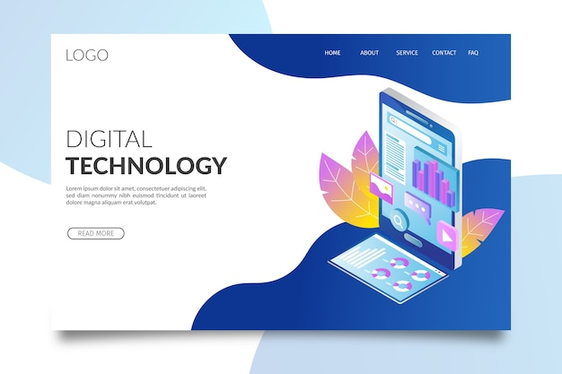 Technology isometric landing page
