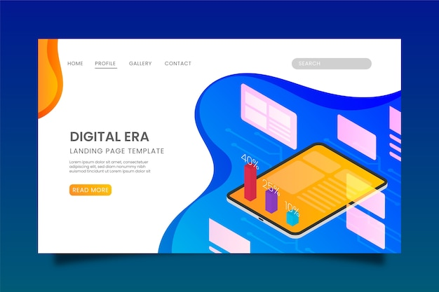 Technology landing page isometric design