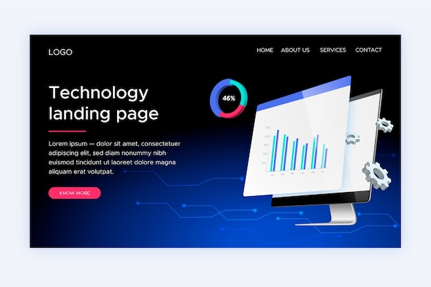 Technology landing page isometric template