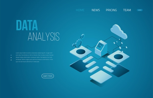 Technology landing page template isometric header for website