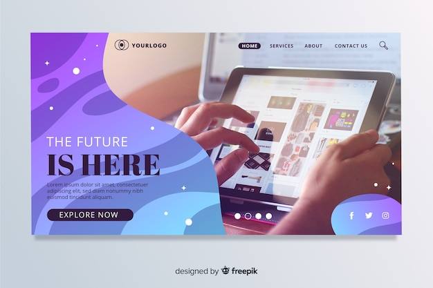 Technology landing page with fluid shapes