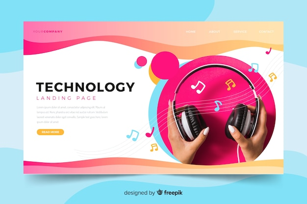Technology landing page with headphones photo