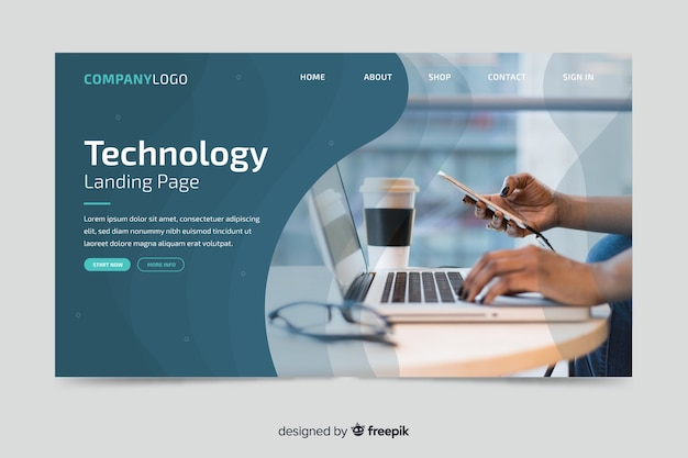 Technology landing page with laptop photo