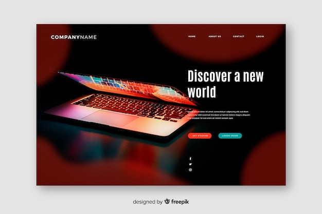 Technology landing page with laptop