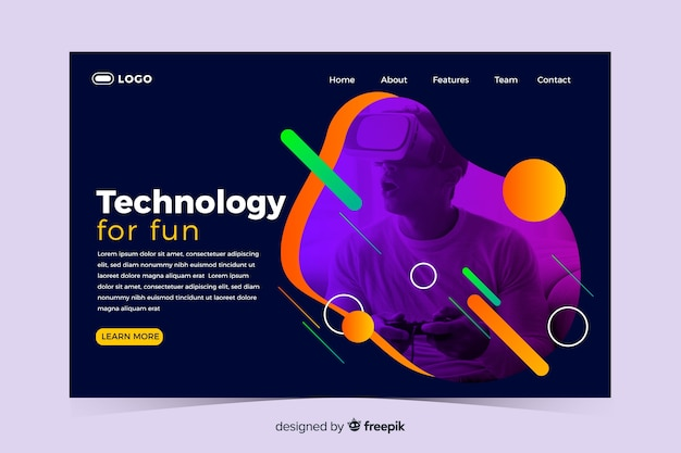 Technology landing page with memphis design