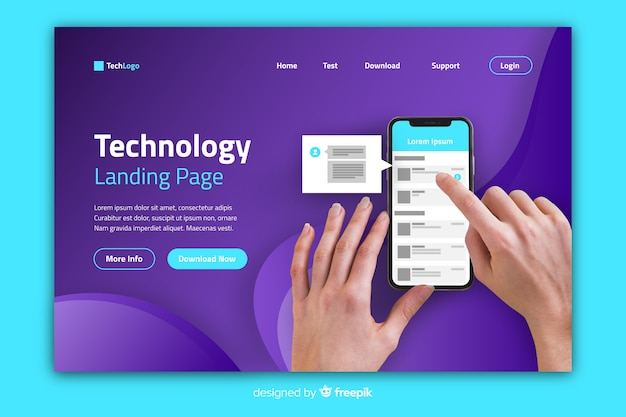 Technology landing page with person scrolling