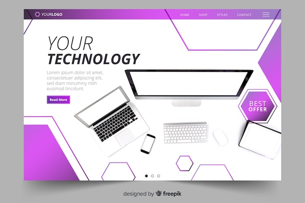 Technology landing page with photo template