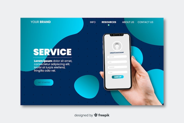 Technology landing page with photo