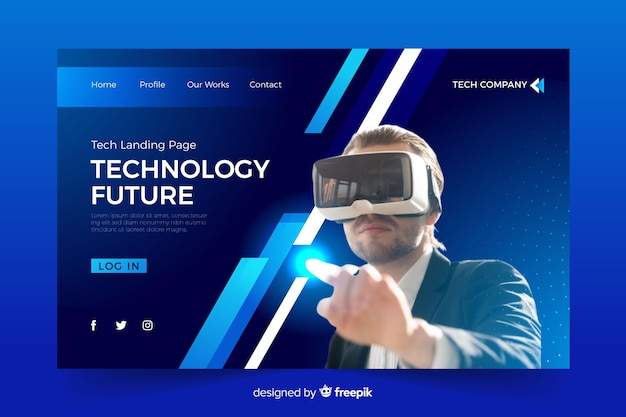 Technology landing page with vr glasses