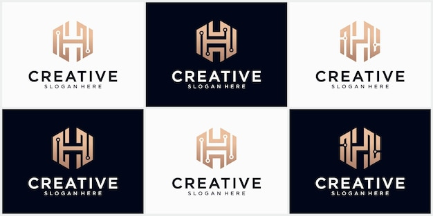 Technology letter h logo in gold color beautiful logotype design for luxury corporate branding