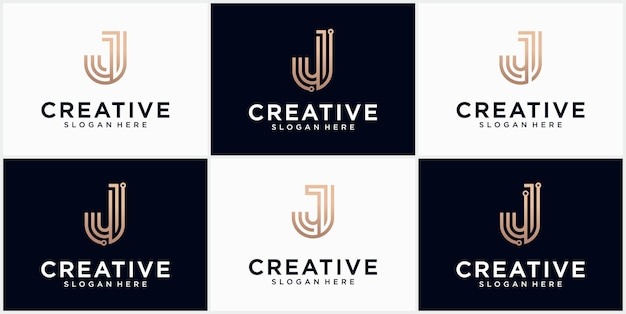 Technology letter j logo in gold color beautiful logotype design for luxury corporate branding