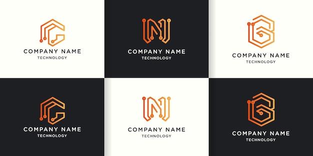 Technology letter logo use circuit line concept