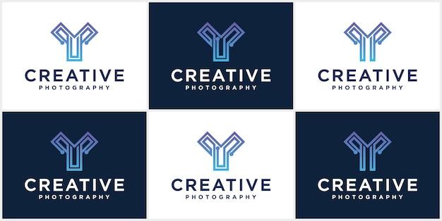 기술 문자 y 라인 로고 디자인 크리 에이 티브 미니멀리스트 로고 타입 아이콘 기호 y 문자 로고 아이콘