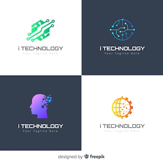 Technology logo collection gradient style