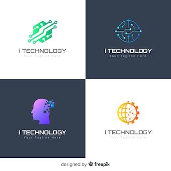 Технология логотипа коллекции градиента стиля