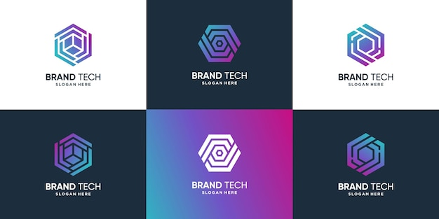 Technology logo collection with modern concept premium vector