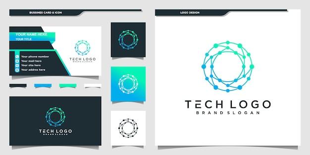Технологический дизайн логотипа, вдохновленный современным стилем линии круга premium векторы