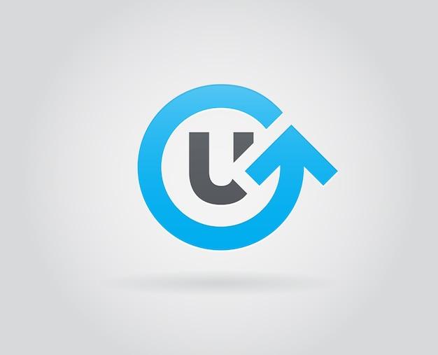 초기 문자 u로 기술 로고 디자인