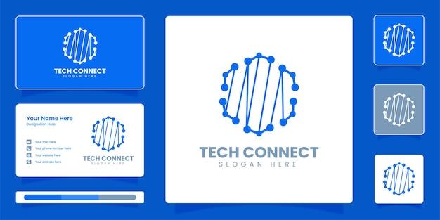 テクノロジーロゴドット接続ロゴとビジネスアイデンティティベクトルテンプレート