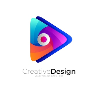 Technology logo and play icon, 3d style