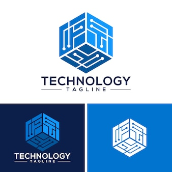 Technology logo template vector