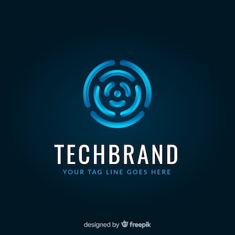 Technology logo template with abstract shapes