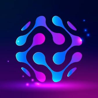 Технологический логотип с абстрактным глобусом в фиолетовых тонах