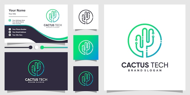 創造的なサボテンの概念と名刺のデザインと技術のロゴ