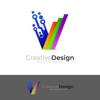 Technology logo with letter v design, line and colorful icons