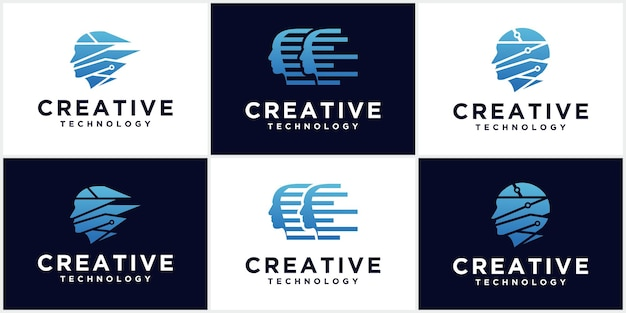 Technology man head logo, concept sign for business, science, psychology, medicine. male silhouette head creative sign design.