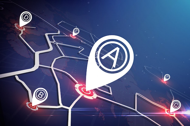 Technology map concept.  location marker on map around the world