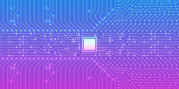 Technology microchip background, blue and purple gradient digital circuit board pattern