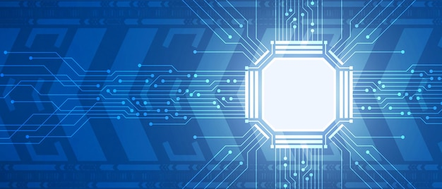テクノロジーマイクロチップ、青い回路基板、デジタル矢印の動きの背景