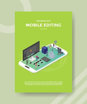 Technology mobile editing flyer template