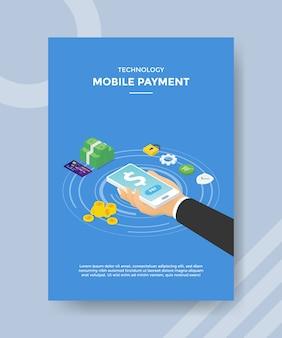Технология мобильных платежей рука держать смартфон значок доллара