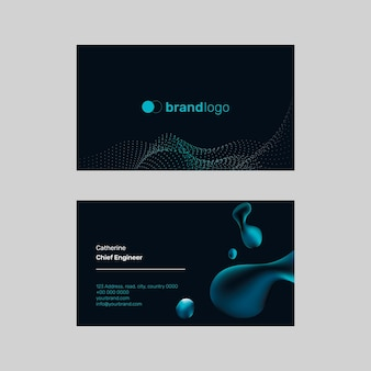 Technology name card template black background