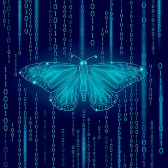 Technology nature concept, binary code butterfly life ecology innovation inspiration