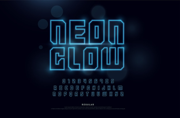 Technology neon font and numbers alphabet