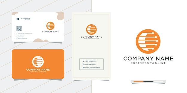 Technology network logo circle design and business card