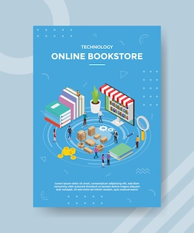 バナーとチラシのテンプレートの本のラップトップの近くに立っている技術オンライン書店の人々