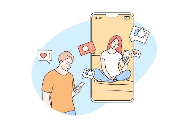 기술, 온라인, 커뮤니케이션, 소셜 미디어, 격리 개념 프리미엄 벡터