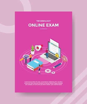 Technology online exam people standing near book laptop for template of banner and flyer