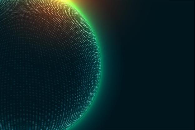 輝く光の背景を持つ技術粒子球