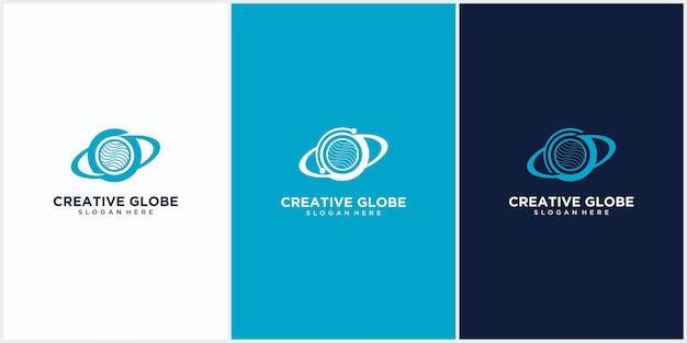 Планета технологий логотип дизайн вектор шаблон, данные планеты отрицательное пространство стиль, планета логотип технологии дизайн шаблона вектор
