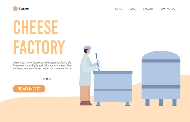 Technology process of cheese production on milk factory a vector illustration