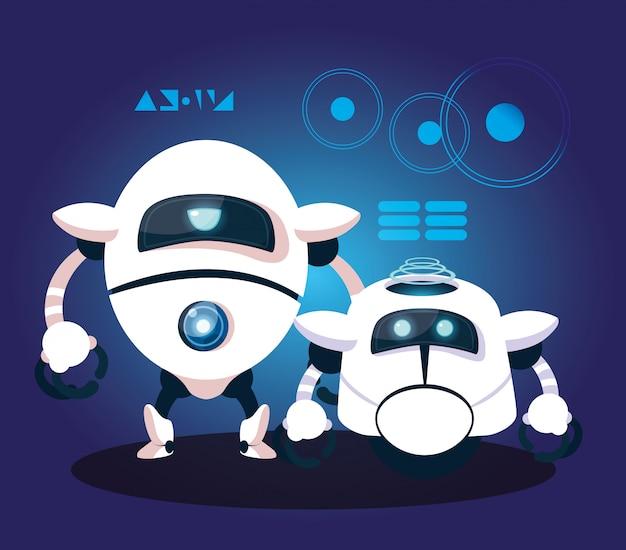 Technology robot cartoon over blue