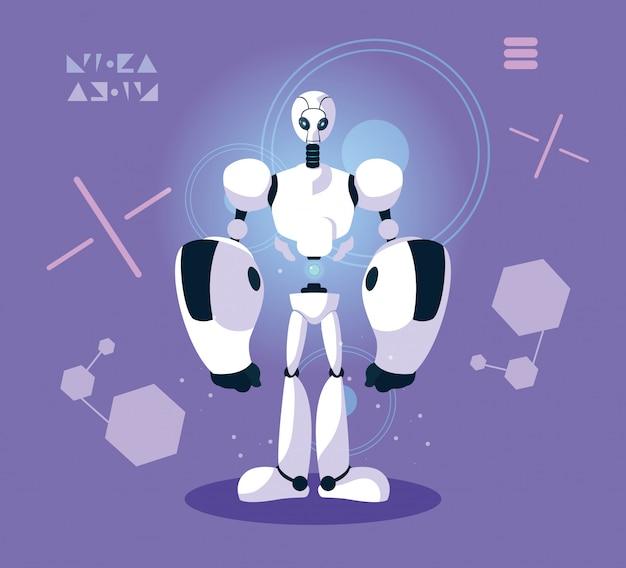 Technology robot cartoon over purple
