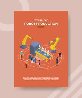 템플릿 전단지를위한 기계 로봇 개발 주위에 서있는 기술 로봇 생산 사람들