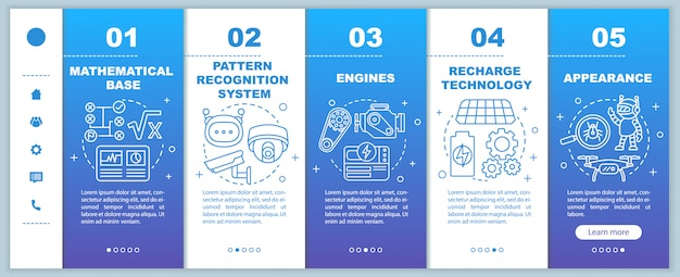 Technology in robotics onboarding mobile web pages template. automation. responsive smartphone website interface idea with linear illustrations. webpage walkthrough step screens. color concept