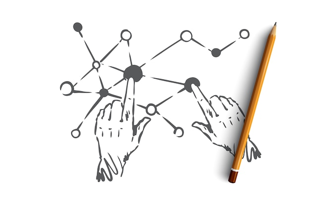 テクノロジー、科学、コミュニケーション、デジタル、インターフェースのコンセプト。手描きの人間の手と画面接続の概念スケッチ。